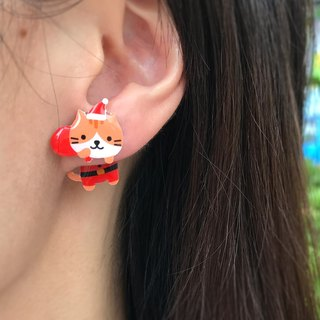 Meow original hand made Xmas Limited Edition Christmas gifts Santa Claus cat earrings (Santa Claus and gifts Grilled ears cat as a pair) - Limited period