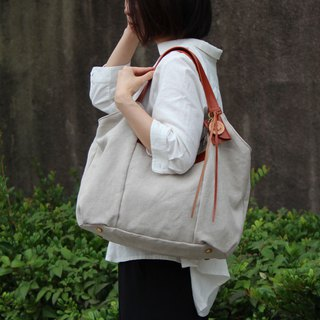tanton - linen - Red Brown Linen Canvas × Leather Bag