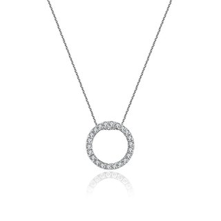 Hollow Round Shape Diamond Necklace
