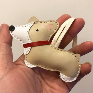 {Leatherprince 手工皮革} 台灣MIT 米色 可愛 柯基 純手工縫製 皮革 吊飾 / Nana the Corgi cowhide leather charm in Beige(Small size / 小尺寸 )