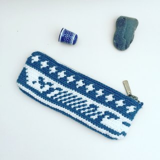 Improvisation small pencil case - one indigo totem - Stock -by YiChenZ