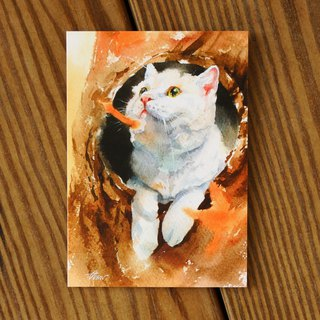 Watercolor Painted Hair Boy Series Postcard - Another Look at Feng Jian