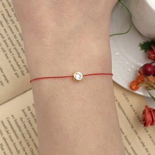 925 sterling silver gold-plated gold-encrusted diamond double-sided clover single drill red line bracelet hand rope red rope