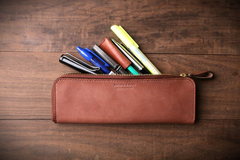 [NS leather] hand-sewn leather zipper pencil case, pencil case, pencil case, cosmetic bag (free printing)