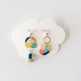Dreamland amusement park series - magic flying saucer fast hand-painted draping handmade earrings ear pin / ear clip