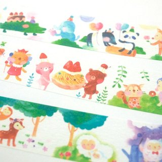 Forest Animals (watercolor) and paper tape - 2.5cm x 10M (50cm cycle chart)