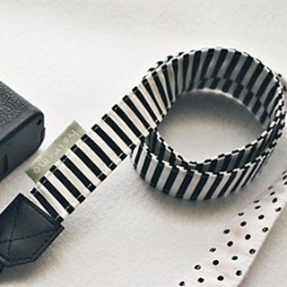 Hairmo Black and white stitching stripes double hanging camera strap (general 80)