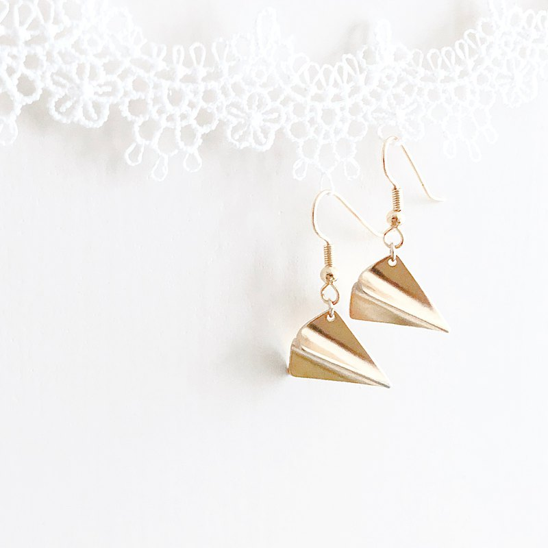 金飛機 紙飛機 耳環 Golden Airplane Paper Airplane Earrings
