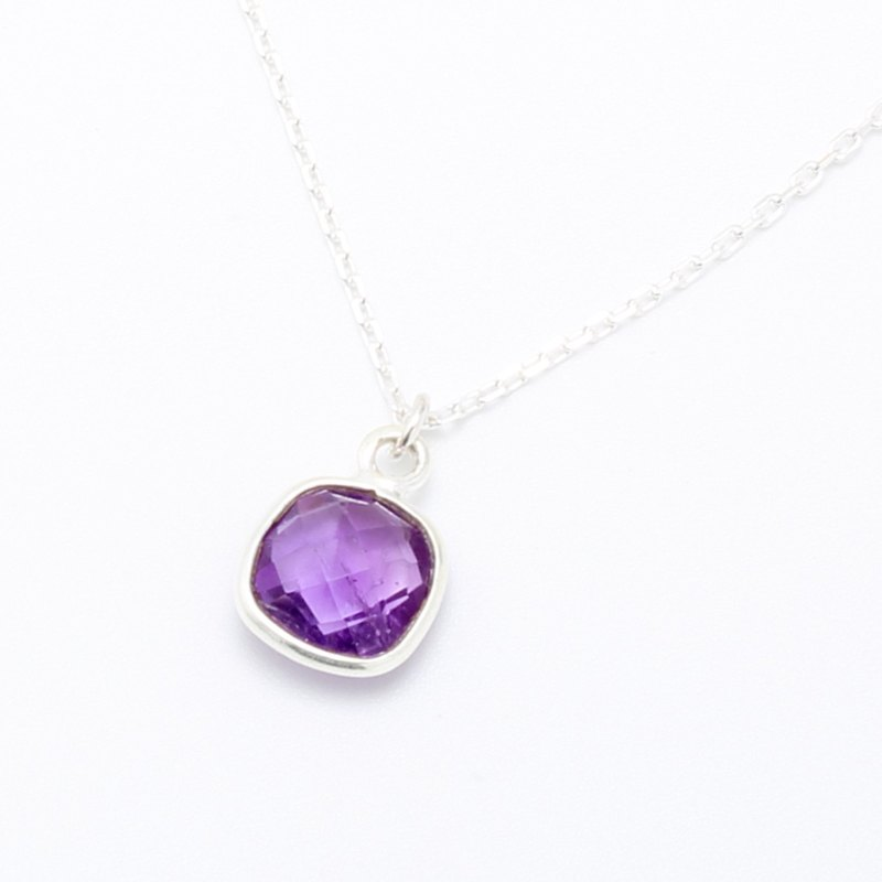 Amethyst square s925 sterling silver necklace Valentine's Day gift