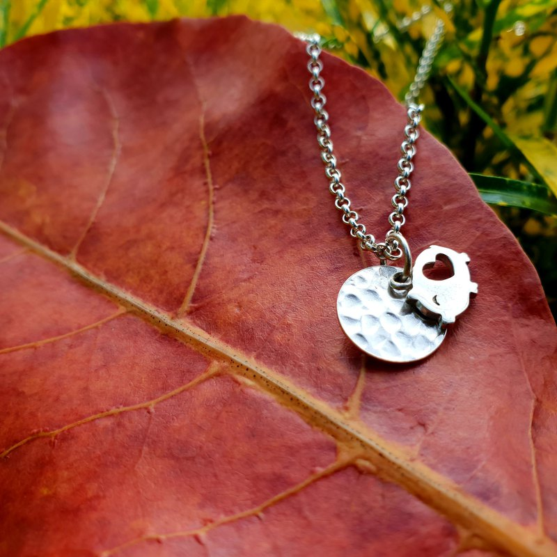 V35 - can not do the same silver necklace - silver round piece + piglet - 925 sterling silver necklace - royal smith
