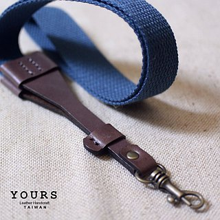 + Wide thick woven leather neck strap canvas sail deep green wood +