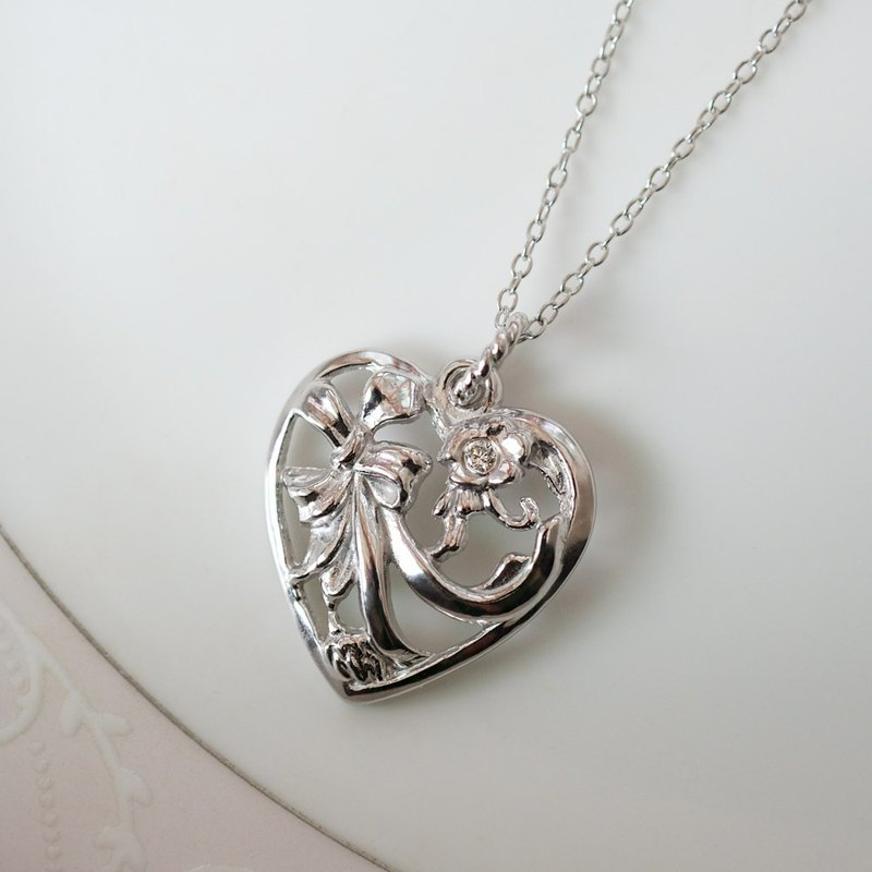 Love Heart Diamond Crystal Diamond Necklace 925 Silver