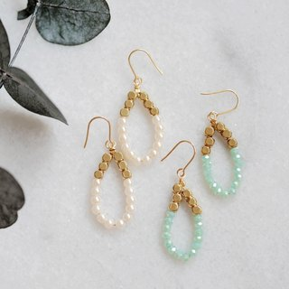 Water droplets modeling earrings │ brass crystal import beads Christmas exchange gift