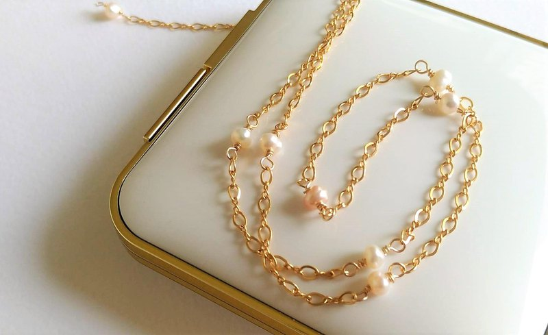 Natural Freshwater Pearl Clavicle Simple 14K Gold Necklace Birthday Gift Girlfriend