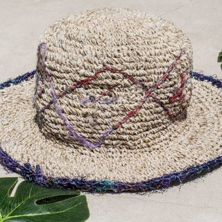 Valentine's Day gift woven cotton hat fisherman hat straw hat straw hat sun protection hat - geometric sari line