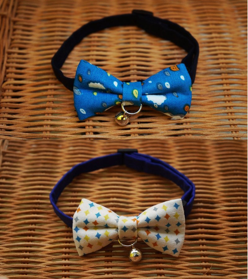 [Miya ko.] Handmade cloth grocery cats and dogs tie / tweeted / bow / geometry / cute colorful / Blue / pet collars ((((I want to bring together two))))