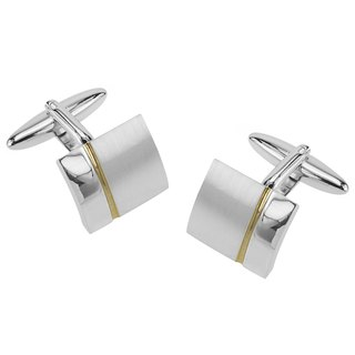 Classic 2 Tone Silver with Gold Stripe Cufflinks