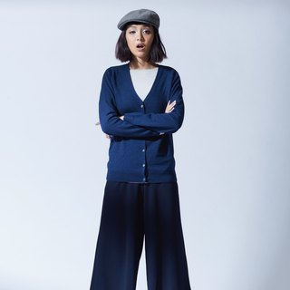 Wool function V collar wild knit jacket - classic blue