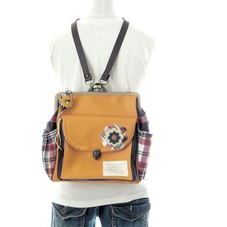 3 WAY left zipper compact backpack full set check flower orange × brown