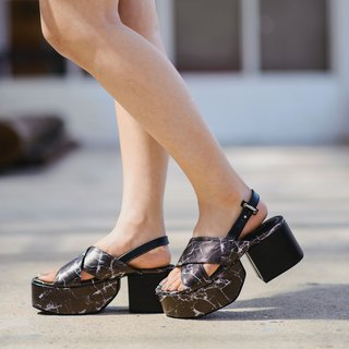 Marble platform shoes - Black marble