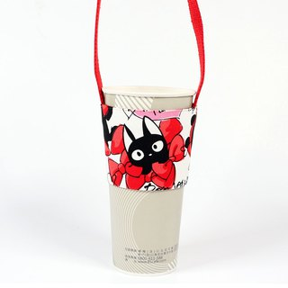 Drink Cup Set Green Cup Sleeve Bag - Butterfly Cat (Red)