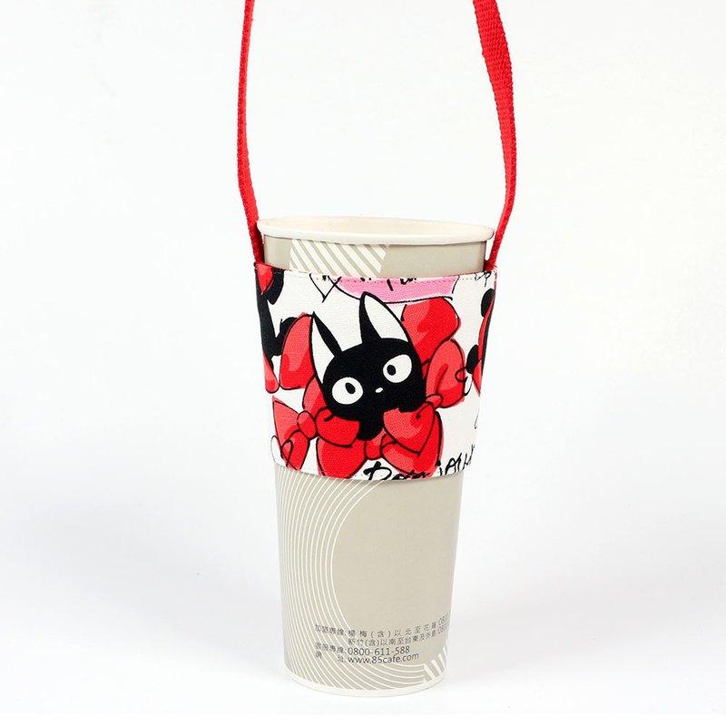飲料杯套 環保杯套 提袋- 蝴蝶貓(紅)