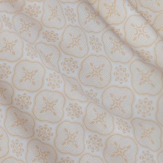 Printed Fabric / Begonia Glass Pattern / Beige & White
