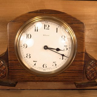 Old bone French wood mechanical clock VINTAGE