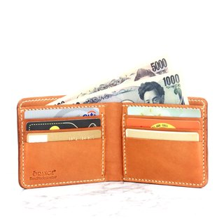 Small orange peel tanned leather short clip / wallet