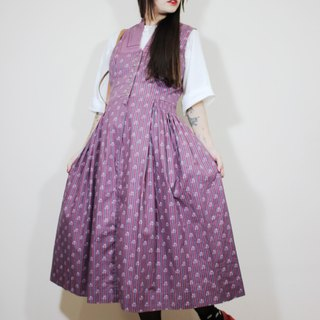 F2149 [Austrian traditional costumes] (Vintage) purple stripes vintage floral sleeveless dress (wedding / picnic / party)
