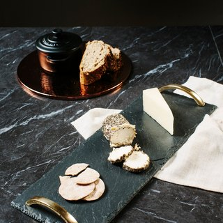 【UK】●Small Serving Tray with Gold Handles●  The Just Slate Company