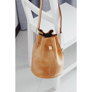 Vegetable Tanned Leather Drawstring Bucket Bag - Honey