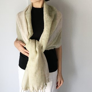 Unisex Scarf / Green and White Mix - All season available -