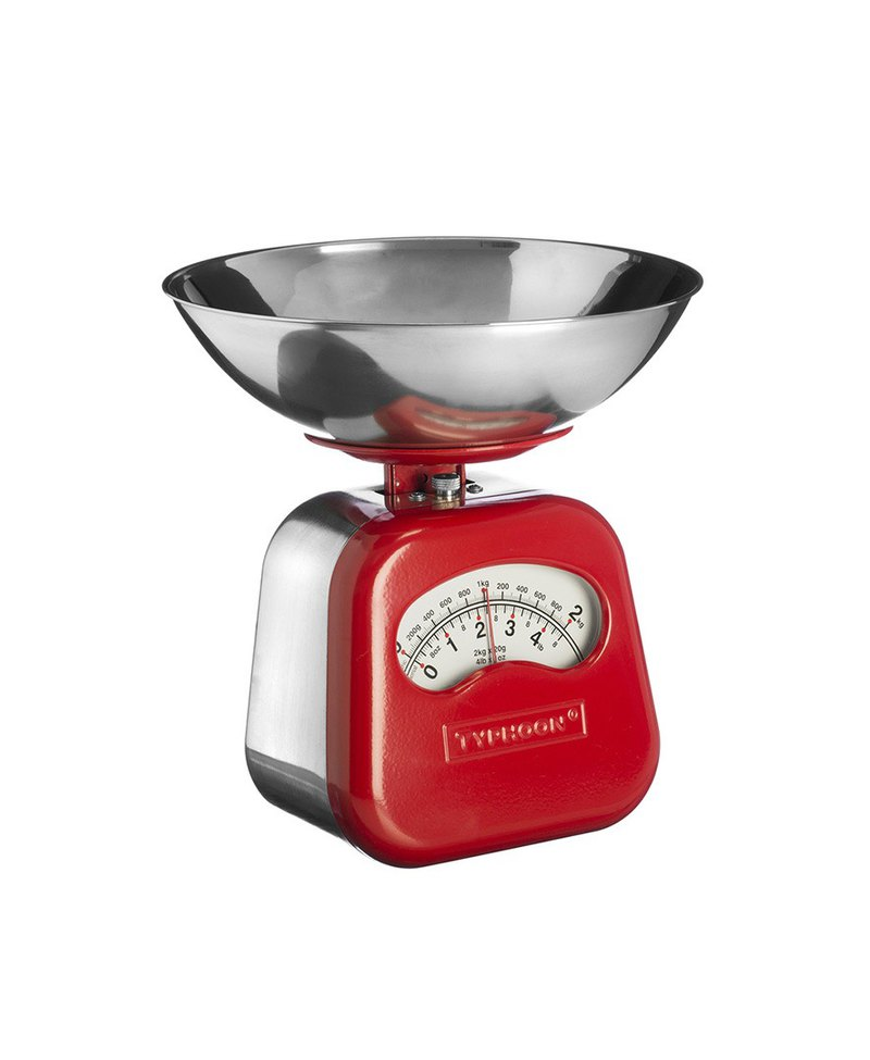 British Rayware industrial wind retro NOVO arc shape 2 kg kitchen mechanical scale (red)