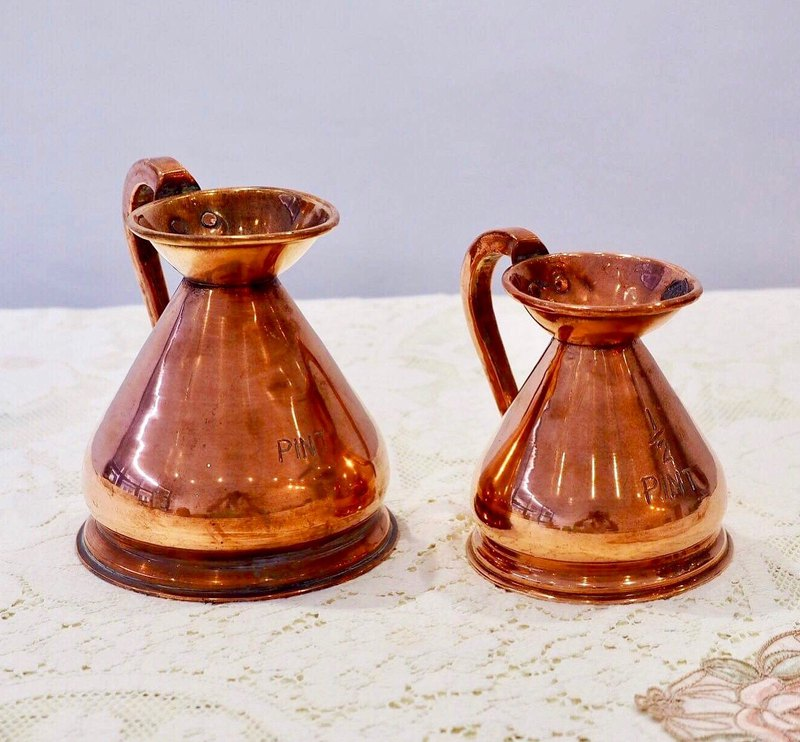 British hundred-year antique copper measuring cup two-piece set