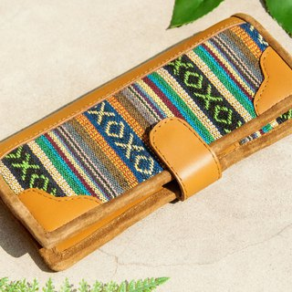 Leather wallet / woven stitching leather long clip / long wallet / purse / woven wallet - Moroccan nationality