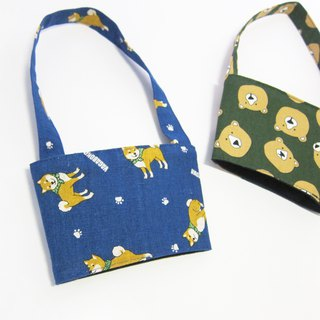Little Forest Eco Restricted Reusable Beverage Bag <Running Shiba Inu / Dark Green Bear>