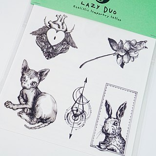 Animal Temporary Tattoo Sticker Black Gray Gary Star Zodiac Compass Rabbit Bunny
