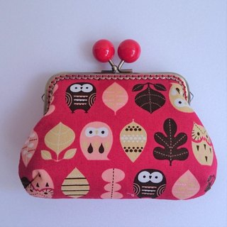 Gold bag / storage bag / cute owl / red