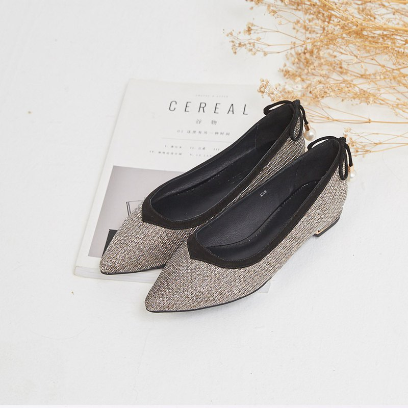 [Crystal Sparkling Wine] Soft Gretel Pearl Bow Tie Pointed Shoes_Sparkling Champagne