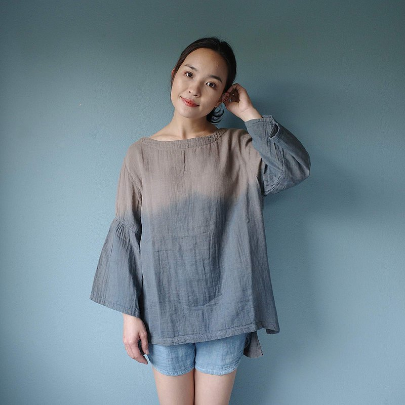 Relax blouse / round-neck / natural dye double soft cotton