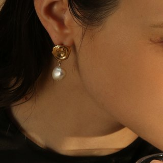 [Mellobject] Baroque pearl short earrings ear clip earrings