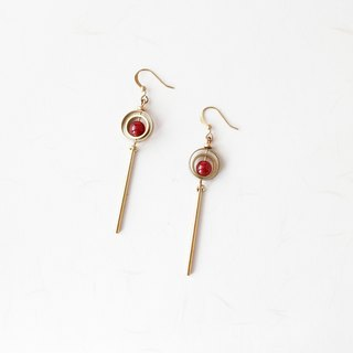 Classical Geometry Red Agate Brass Earrings Sisters Secret Friends Mother's Day Birthday Gift