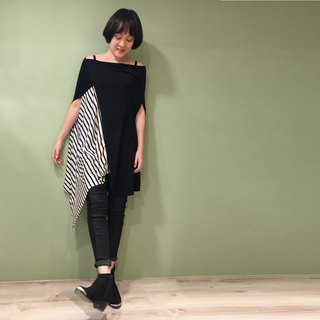 Top Square vertical staggered top (can be changed by the word collar / V collar drape / oblique shoulder) - black spell stripes