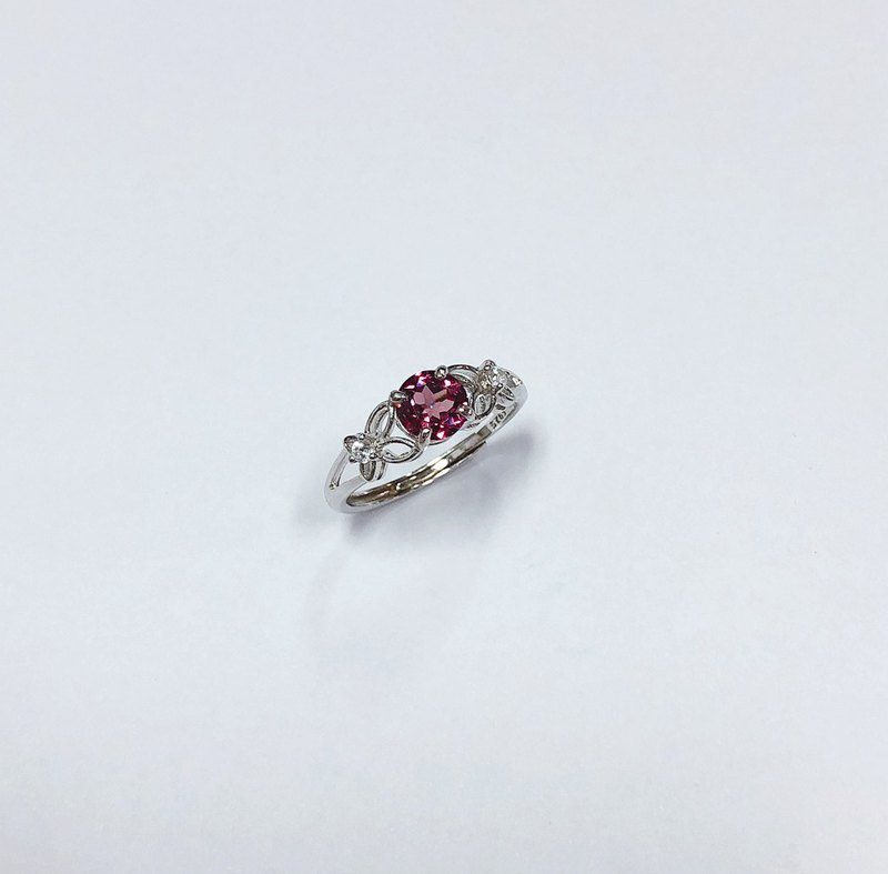 玫瑰榴石戒指 925純銀 手工鑲嵌