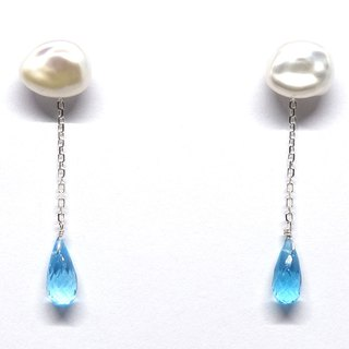 SV925 cloud pearl & blue topaz earrings【Pio by Parakee】下雨天  托帕石