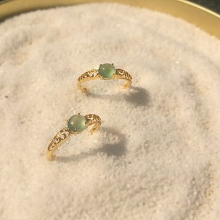 Warm 旸 - Boutique Design Series: Natural Clearwater Emerald (Burma Jade) 750K Gold Classical Carved Ring