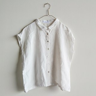 Shell buckle small collar shirt washed linen white