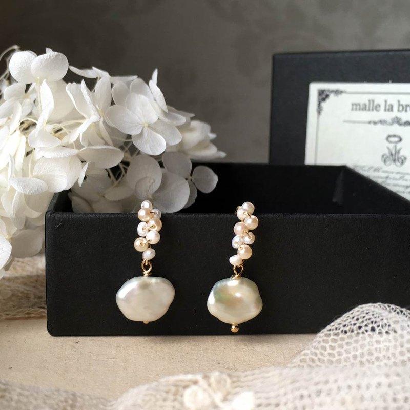 14kgf淡水Keshi珍珠小圈形耳環或耳夾