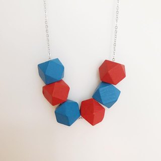 Red Blue Wooden Beans Necklace Chrismas Gift Wedding BFF